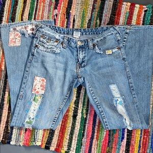 Hippie bell bottom True Religion jeans w patchwork